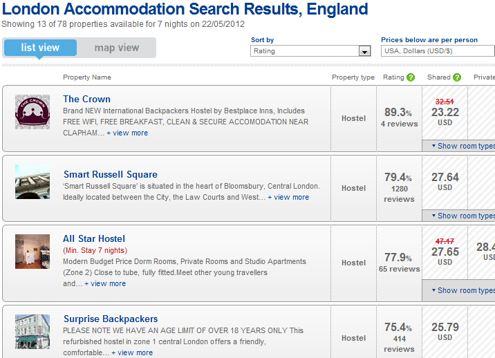 London HostelBookers Search