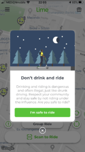 Lime drunk riding warning